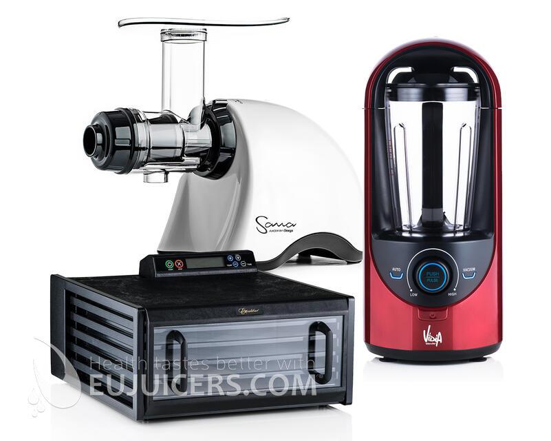 šnekový odšťavňovač, sušička ovoce a vakuový mixér